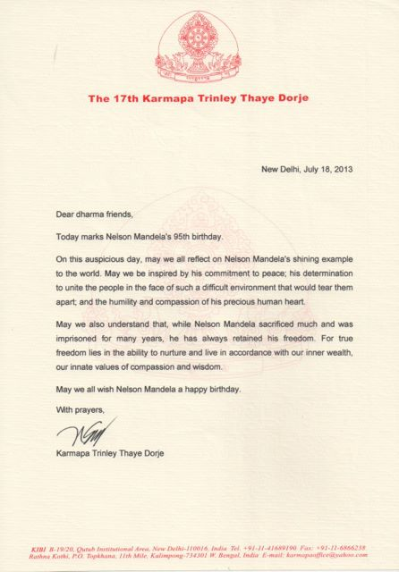 Carta de Karmapa sobre Nelson Mandela
